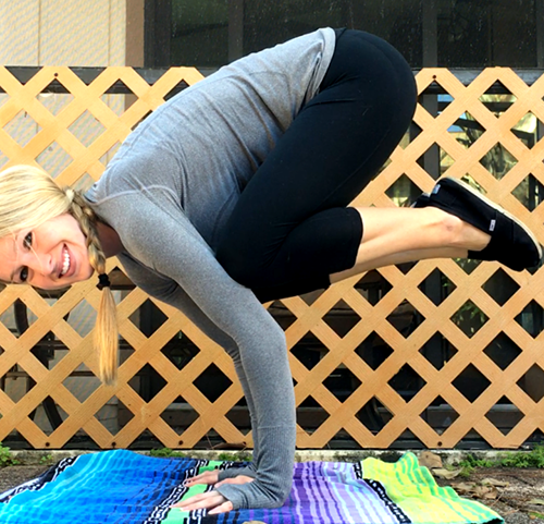Christina Schultz demonstrates a yoga pose. As the only yoga teacher at Jupiter High, she is excited to share her skills.