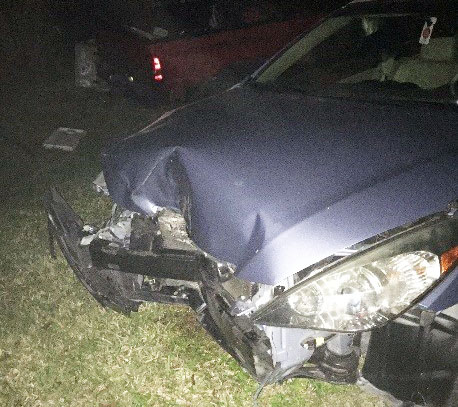 Sophia Valente's car after an accident in Jupiter Farms