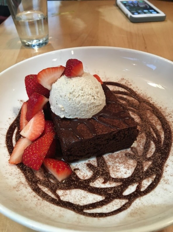 Warm brownie sundae at Christopher's kitchen. Who would ever guess it is vegan!
