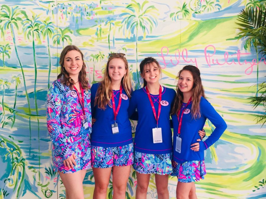Junior+Couture+club+members+juniors+Katelyn+Smallwood+and+Lexi+Coquillette+and+sophomores+Annabelle+Ford+and+Cressa+Bronson+pose+in+front+of+a+Lilly+Pulitzer-themed+wall+at+the+Honda+Classic%2C+a+fashion+company+which+sponsors+both+the+Couture+Club+as+well+as+the+Honda+Classic.++