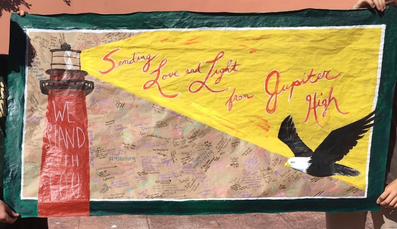Poster that Jupiter High school art students made to send to Stoneman Douglas high school.