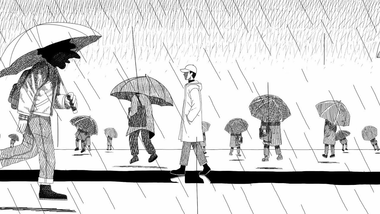 "A snapshot of the visual for the song ""Forever Rain"" in which the person is walking through the rain wallowing in their loneliness."