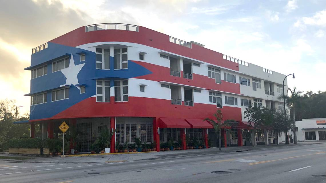 La Placita's restaurant front is a ginormous mural of the Puerto Rican flag which sparked controversy in 2018 over a code-compliance issue.