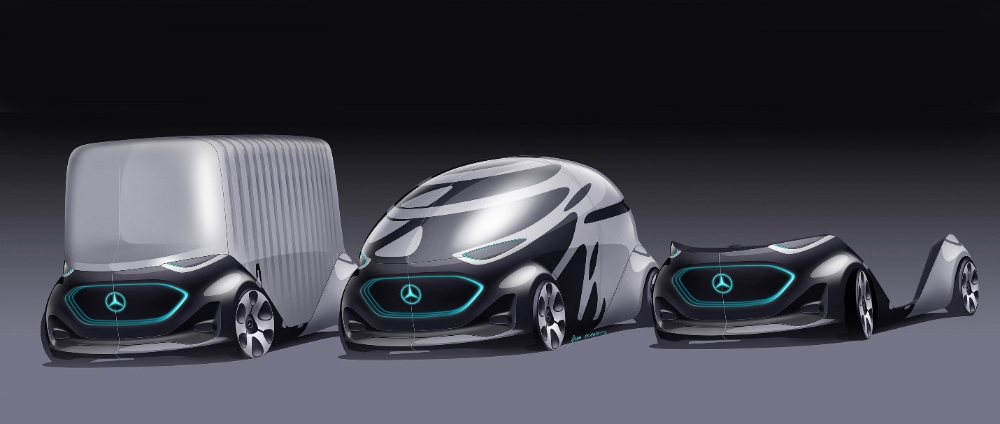 """The URBANETIC concept allows for switchable bodies depending on the intended use: cargo van (left), """"people mover"""" (middle), and self-driving base (right)."""