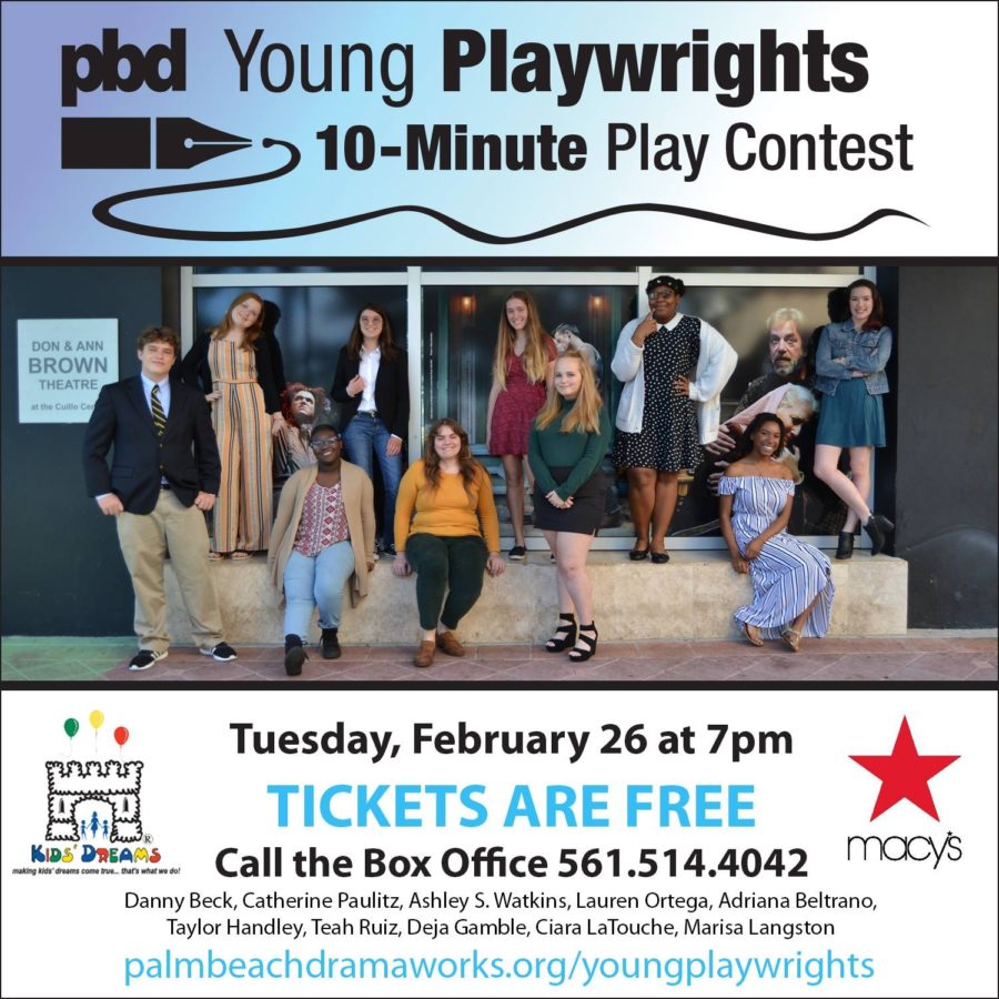 Senior+Adriana+Beltrano+%28third+from+left%2C+bottom+row%29+posing+with+the+2019+contestants+of+the+Palm+Beach+Dramaworks+Young+Playwrights.+