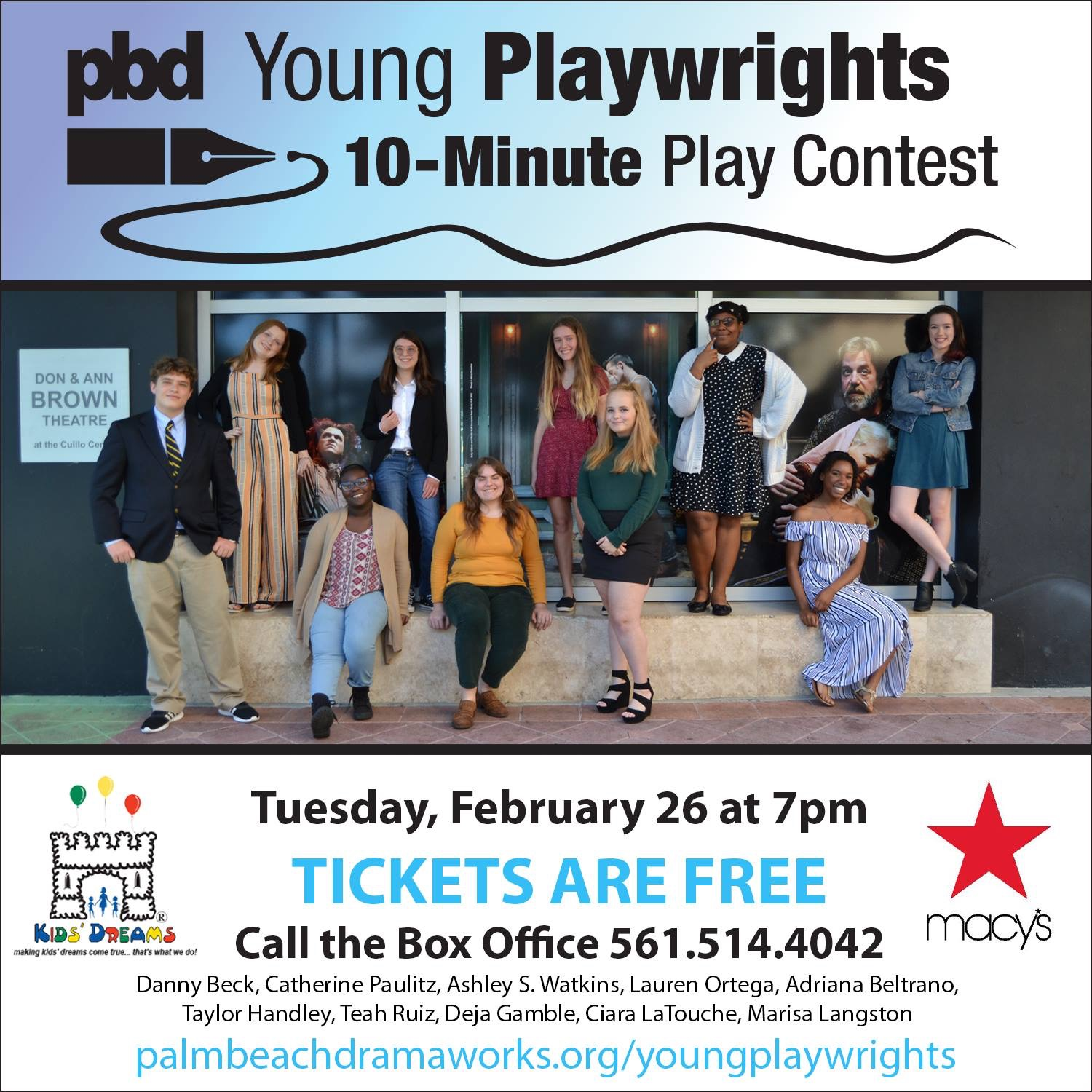 Senior Adriana Beltrano (third from left, bottom row) posing with the 2019 contestants of the Palm Beach Dramaworks Young Playwrights.