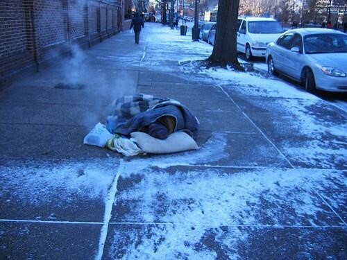 Homeless people were found sleeping in the streets in the freezing Chicago weather during the Polar Vortex.