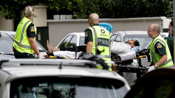 Ambulance+staff+transport+a+man+from+outside+a+mosque+in+central+Christchurch%2C+New+Zealand