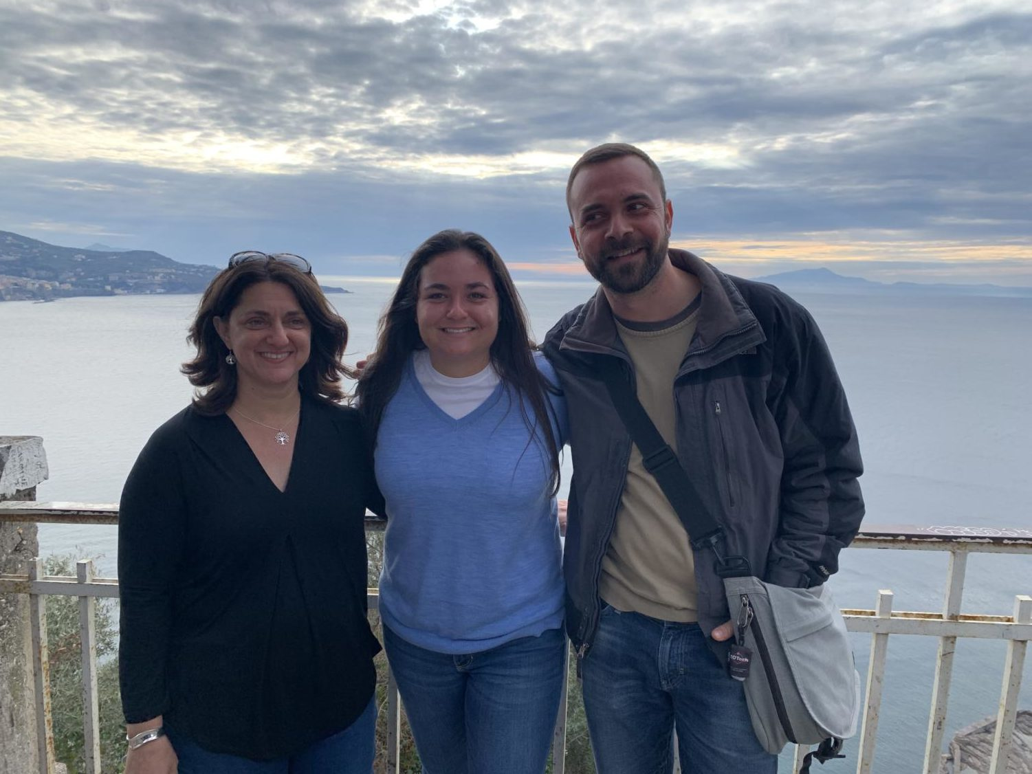 Shari Rodgers, Isabelle Dewaele and group tour guide Tomasso in Meta, Italy.