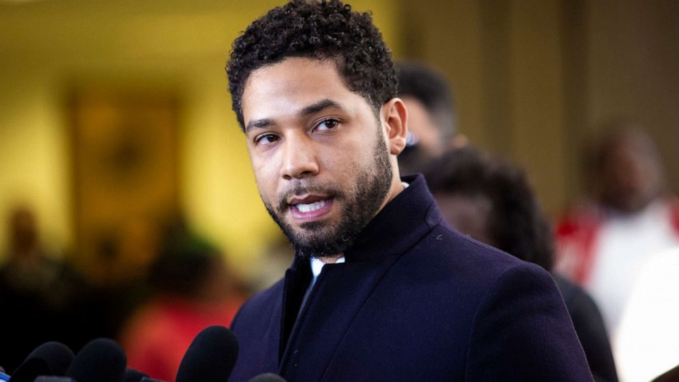 Jussie Smollett addresses reporters after the charges against him were dropped.