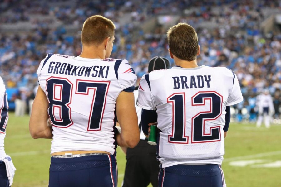 Rob+Gronkowski+and+Patriots+quarterback+Tom+Brady+who%27ve+developed+a+bond+throughout+the+years+of+playing+together.+