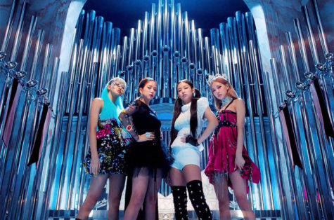 "All four members of BLACKPINK (left to right) Lisa, Jisoo, Jennie and Rose in an opening shot of the music video for ""Kill this Love"""