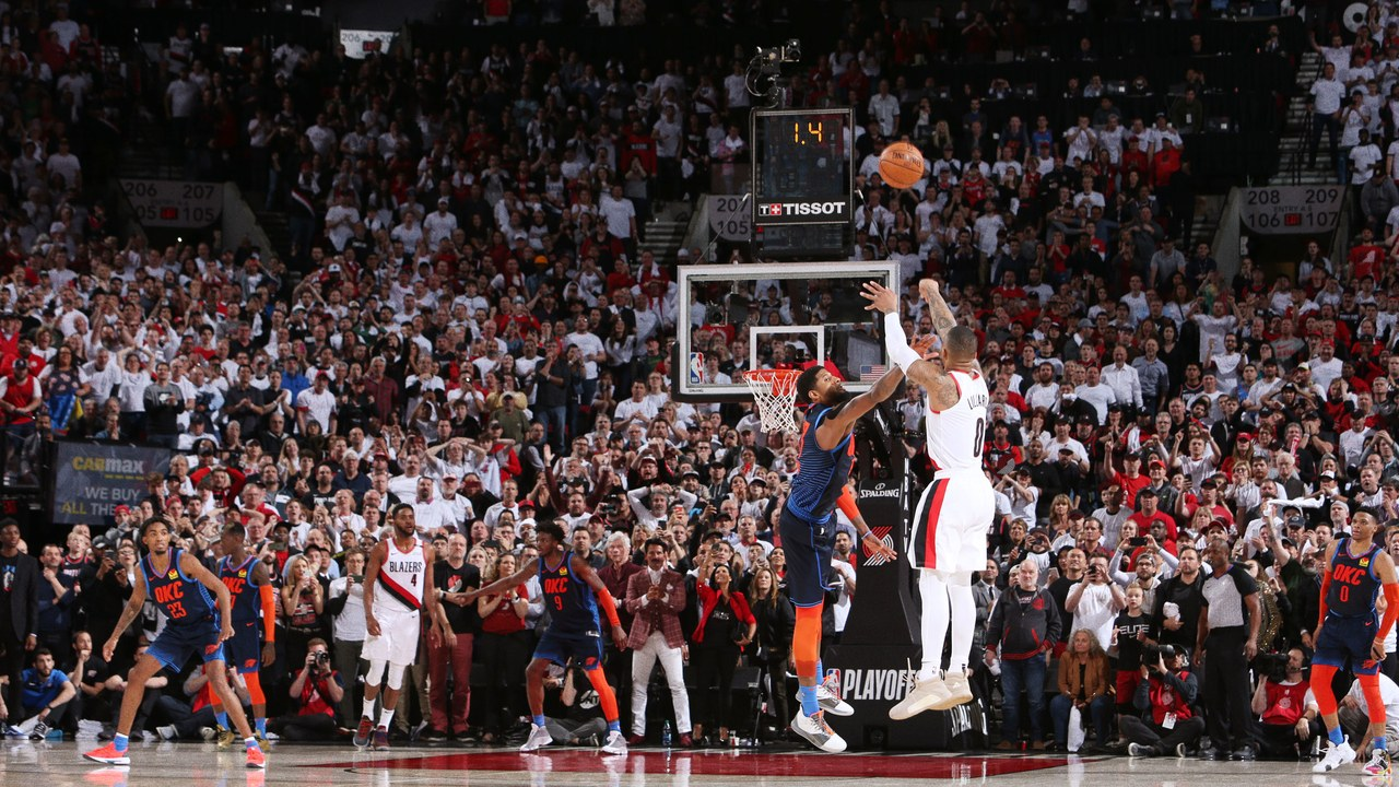 A picture of All-star Damian Lillard making a game winning three-point shot to win the series against OKC.