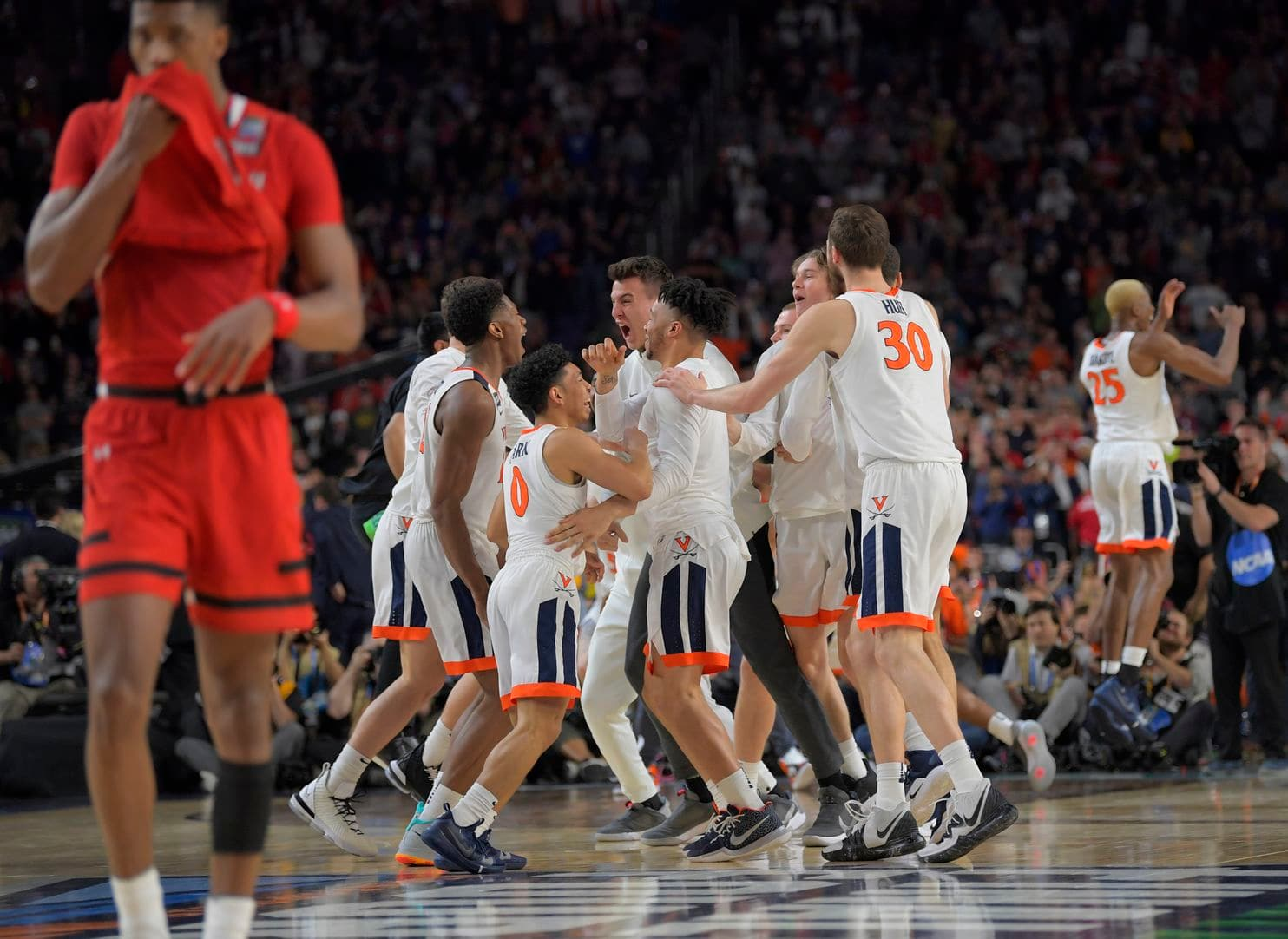 A picture of Virginia after beating Texas Tech to clinch the national championship.