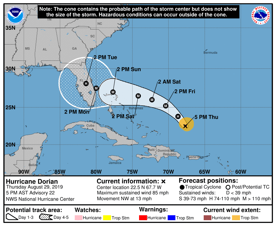 An+updated+map+predicting+the+path+of+Hurricane+Dorian+as+of+Aug.+29+at+5+p.m.+