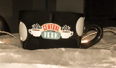 "A mug displaying the fictional coffee shop ""Central Perk,"" where a lot of ""Friends"" took place"