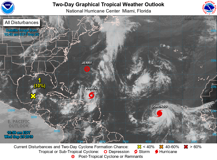 Tracking storms Karen and Lorenzo