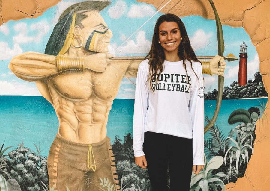 New+volleyball+player+junior+Amanda+DeWitt+represents+her+new+team+and+poses+in+front+of+a+mural+in+the+Atrium.