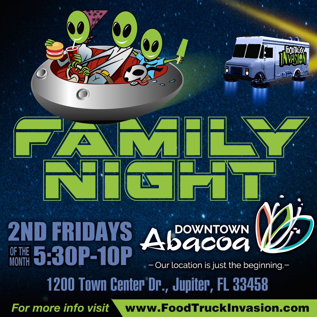 The flyer for the Abacoa Food truck Invasion on Friday, Nov. 8