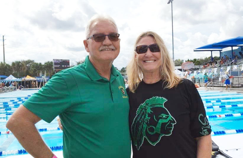Dennis+Connolly+and+Susan+Diaz+attend+the+swim+and+dive+state+championships+at+Sailfish+Water+Park+in+Stuart%2C+Fla.