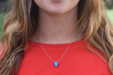 Senior Maya Milstein wears a blue hamsa necklace she got while in Israel to show she is proud to be Jewish