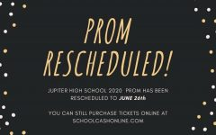 Virtual flyer advertising prom's new date. Published on the Student Government Association social media accounts.