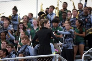 Madeline Lea leads the Spirit of Jupiter band at a home football game on Nov. 1.