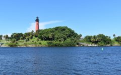 The Jupiter Inlet Lighthouse as seen from U-Tiki restaurant.