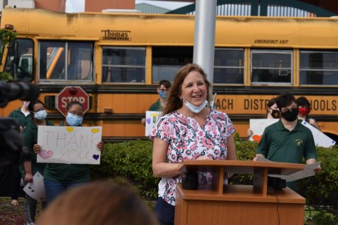 Jupiter High celebrates new school bus