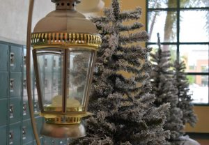 Winter decorations in Jupiter High School's atrium for Winter Spirit Week.