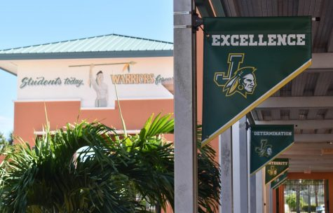 Quarter flags with the new, Jupiter High School logo line the school walkway near the guidance and student services
