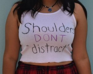 A JHS student wears a shirt on Sept. 3 with a message about dress code policies.