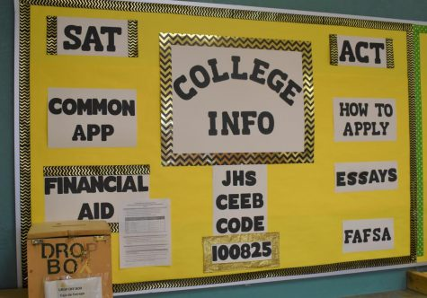 College information bulletin board in the guidance office at Jupiter High School.