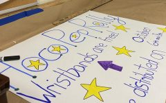 SGA prepares a poster for spirit week.